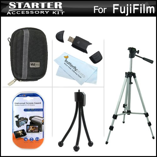 Starter Accessories Kit For Fuji Fujifilm Finepix F770Exr, F660Exr Digital Camera Includes Deluxe Hard Shell Case + 50 Tripod With Case + Usb 2.0 Card Reader + Lcd Screen Protectors + Mini Tabletop Tripod + Microfiber Cleaning Cloth