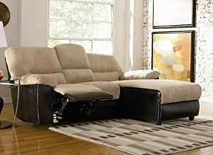 L-Shape Reclining Sectional Sofa with Flip Down Cup Holder in Tan Microfiber