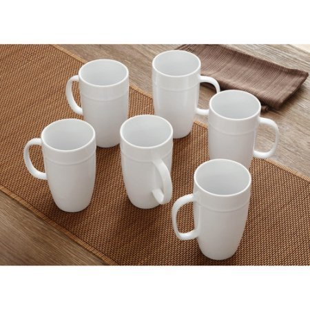 Better Homes and Gardens 18 oz Latte Mug, Set of 6 (White Coffee Mug Set compare prices)