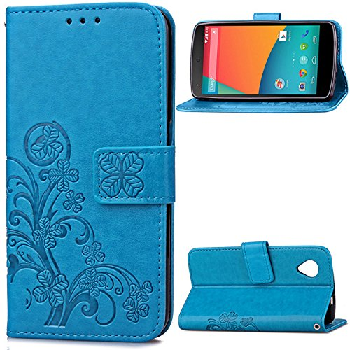 Nexus 5 Case, Enjoy Sunlight [four leaf clover Blue] [Wrist Strap] [Stand Feature] PU Leather Flip Wallet Case Cover for LG Google Nexus 5 (Nexus 5 Light Blue Wallet Case compare prices)