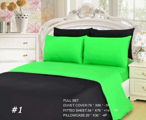 Tache 6 Piece 100% Cotton Lime Green/ Black Reversible Duvet Cover Set, Full front-593030
