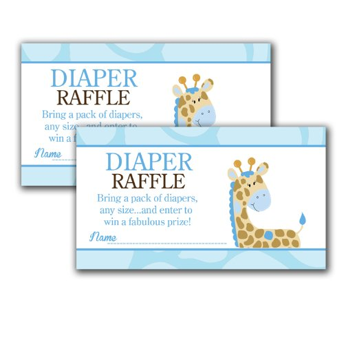 Blue Giraffe Printed Baby Shower Diaper Raffle Tickets (20)