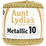 Coats Crochet 154M-0090G  Aunt Lydia's Crochet, Cotton Metallic Size 10, Gold/Gold (Color: Gold)