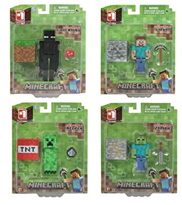 Minecraft Series 1 Overworld Action Figure Set With Steve Enderman Creeper And Zombie by Minecraft