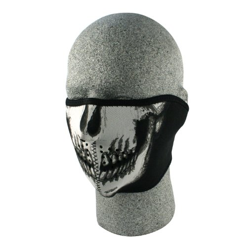 ZANheadgear Neoprene Skull Half Face Mask (White/Black)