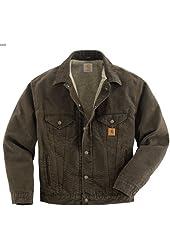 Men's Carhartt Sandstone Jean Jacket BROWN 3XL REG