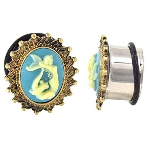 Pair of Cameo Mermaid Ear Plugs w/Intricate Framed Edges Single Flared Gauges - 5/8 Inch (16MM) (Cameo Ear Plugs compare prices)