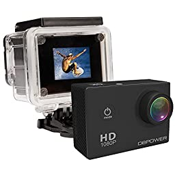 DBPOWER 12MP 1080P HD Waterproof Action Camera with 2 Batteries and Accessories Kit, Black