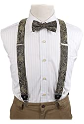 EFCB.02 Fine Pattern Extendable Microfiber Y-Back Suspender With Match Mens Bowtie For Mens By Epoint