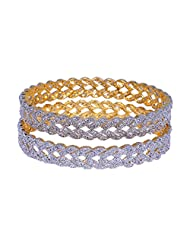 Gehna Beautiful Pair Of Bangles Made In Silver Alloyed Metal Studded Cubic Zircon - B00R7THLNG