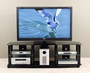 transdeco 65 inch tv stand with casters for 40 70 inch lcd led televison. Black Bedroom Furniture Sets. Home Design Ideas