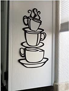 OneHouse Three Folding Cups Wall Art Mural Wall Decor Decal Sticker for Kitchen by OneHouse