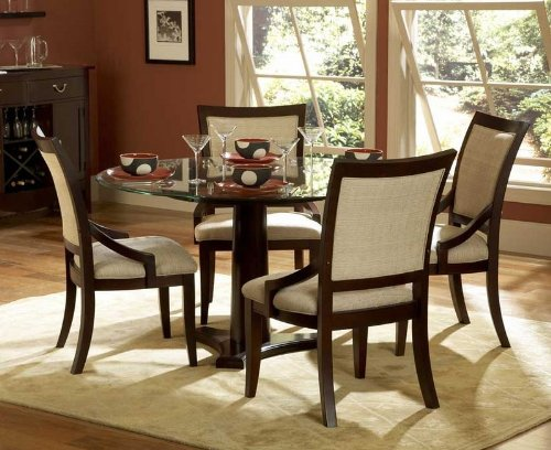 Cheap 5pc Dining Set Round Glass Top Table in Dark Cherry (VF_HE1377-54-5)