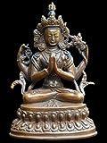 (並行輸入品) アジアン雑貨 ネパール仏像 銅製 六字咒観音菩薩像 BS-52