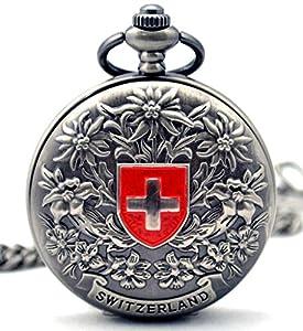 Infinite U Cruz de Suiza Flores Números Romanos Acero Reloj de bolsillo mecánico Gris de Infinite U