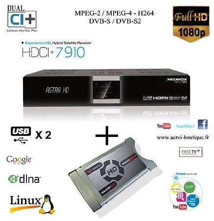 Xeobox HDCI+7910 - Terminal Numérique Satellite Full HD Linux - 2 CI+ - 1 Lecteur de carte - PVR - Afficheur alphanumérique - Livré avec Module Cam Viaccess Dual Smit Secure