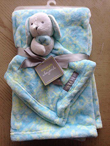 Blankets And Beyond Blue Yellow Damask Blanket With Bunny Security Blanket Lovey