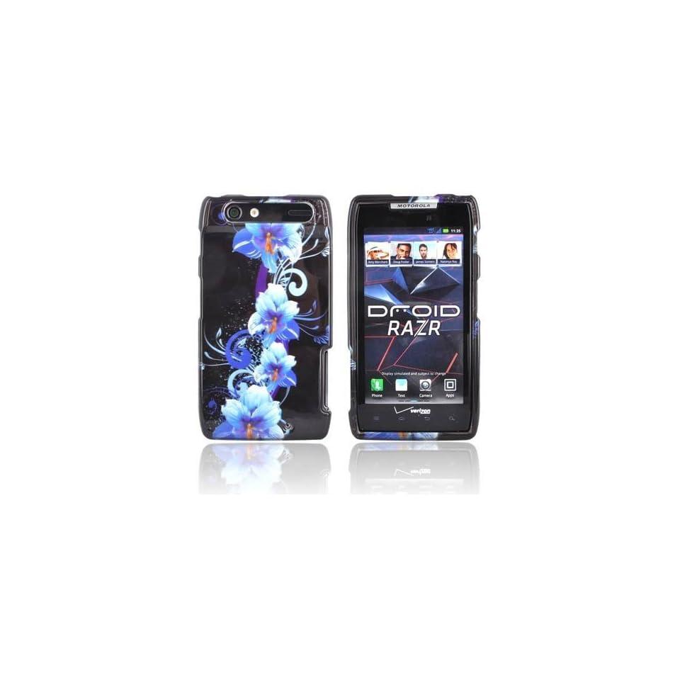 Motorola Droid Razr Maxx XT913   Blue Flower Hard Plastic Case Cover Skin [AccessoryOne Brand]