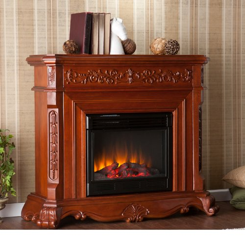 Traditional Electric Fireplace Remote control operated , Mahogany Finish picture B009Z3RFZ6.jpg