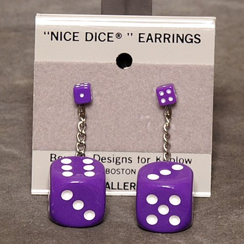 5mm to 16mm Dice Dangler Earrings, Purple w/ White