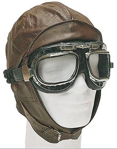 casque moto cuir souple marron style aviateur militaire side car retro taille L 57,58