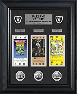 NFL Oakland Raiders Super Bowl Ticket and Game Coin Collection Framed by Highland Mint