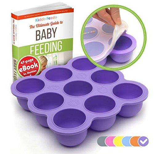 KIDDO FEEDO - Die original Aufbewahrungslösung zum Einfrieren von Babybrei mit Silikondeckel - versch. Farben zur Auswahl - BPA-frei - 9 x 75ml - Gratis eBook zur Babyernährung - Lebenslange Garantie - Lila