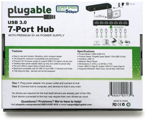 Plugable 7 port usb 3 0 hub 25w powered usb hub with two - Plugable 7 port usb 3 0 superspeed hub ...