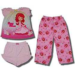 "Strawberry Shortcake ""Berry Princess"" 3 piece pajama set for toddler girls"