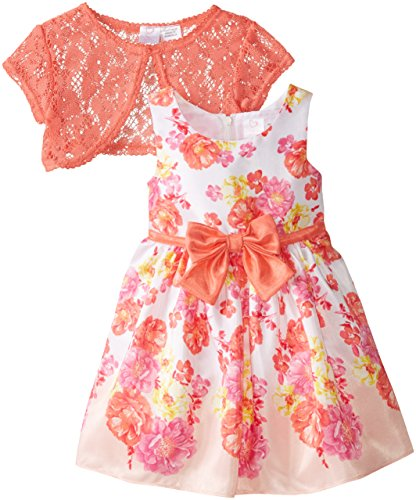 Youngland Little Girls' Woven Floral Printed Dress with Bow and Crochet Lace Shrug, Multi, 5