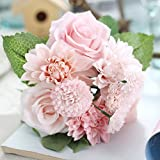 Bringsine Bridal Wedding Bouquet Flower Arrangement Home Decorative Flowers Real Touch Silk Artificial Flowers- Rose, Daisy, Dahlia, Wedding Decoration, Flowers Bunch Hotel Party Garden Floral Decor