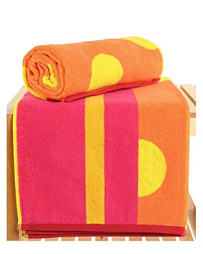 Maisonette Punkte 2-Piece Bath Towel Set, Kumquat