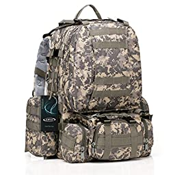 Large Tactical Backpack-Sport Outdoor Military Rucksack Hiking Camping Mountain Climbing Backpack Combined with 3 MOLLE Bags(ACU Camouflage)