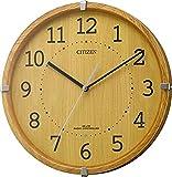 リズム時計工業 CITIZEN シチズン 電波壁掛け時計 シンプルモードアークミニ 4MYA27-007 木枠 薄茶半艶仕上 アナログ