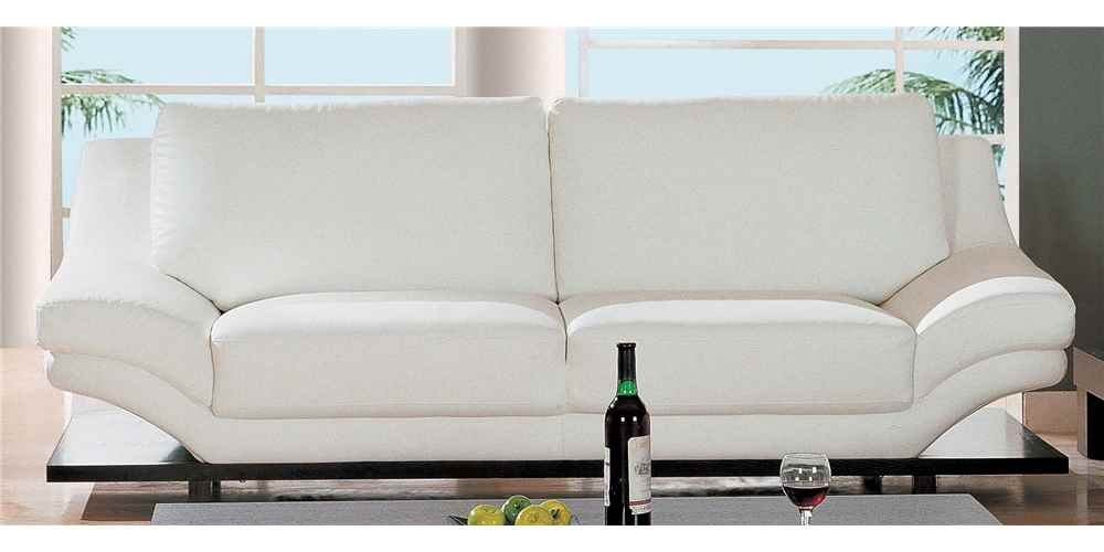 White Leather Contemporary Sofa w Dark Wood Base - 757