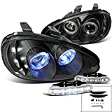 Mazda MX3 Black Halo Chrome Projector Headlights w/LED Driving Fog Lamps