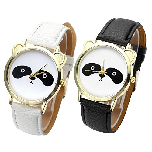 Top-Plaza-Womens-Cute-Panda-Face-PU-Leather-Quartz-Watch-Pack-of-2