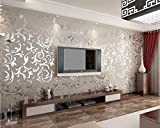 Victorian Velvet Textured Wallpaper Silver Wall Flocking Paper Roll Bedroom TV /ITEM#HGO-IW 73ET214880
