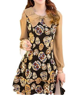Long Sleeved Dress Female Skull Printed Chiffon Skirt Package Bow