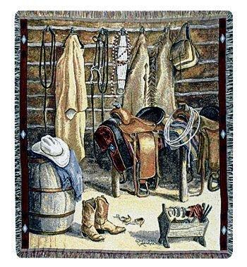"Western Cowboy Closet & Riding Gear Tapestry Throw Blanket 50"" X 60"""