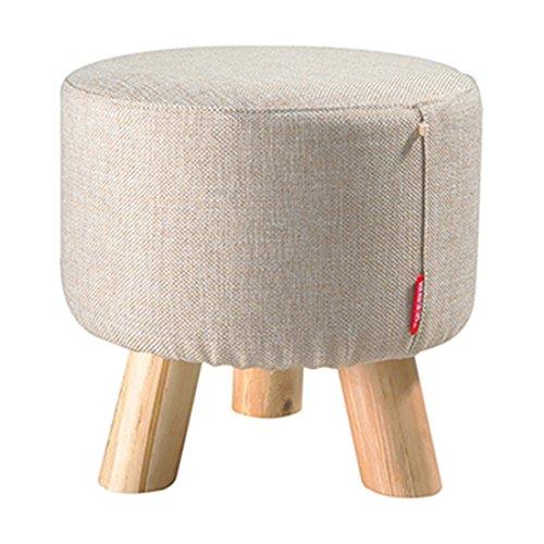 Supporto in legno di rotondo Poggiapiedi imbottito Poltrona pouf sgabello tessuto, 3gambe (beigey)