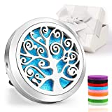 Car Diffuser,Jack & Rose CarDiffuserEssentialOil Car Vent Clip Air Freshener Purifier,Stainless Steel Aromatherapy Locket with 8 Washable Color Pads