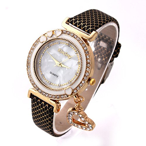 Ashiana Gorgeous heart charm bracelet watch - Black (valentine special!)