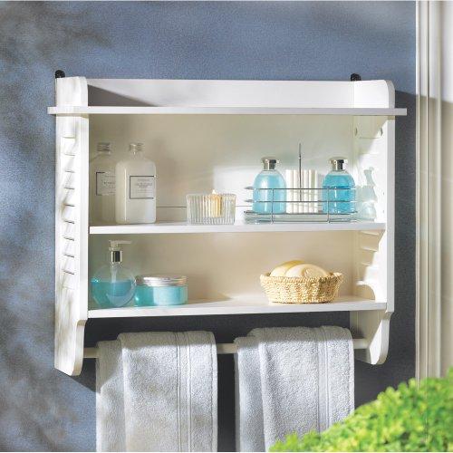 Gifts & Decor Nantucket Home White Bathroom Wall Shelf Towel Holder front-957605