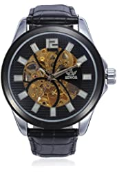 SEWOR Black Automatic Mechanical Skeleton Leather Men Wrist Watch