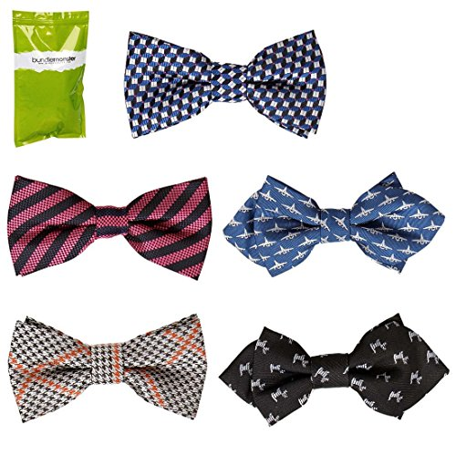 Bundle Monster 5 pc Boys Mixed Pattern Adjustable Elastic Pre-Tied Bow Tie Fashion Accessories - Set 9
