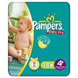 Pampers Baby Dry Size 4+ Maxi+ Small Pack 18 Nappies (Pack of 3)