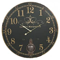 Cafe Des Marguerites French Parisian Extra Large Vintage Wall Clock (Black Face) - 23-in