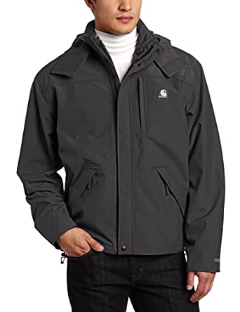 Carhartt Men's Waterproof Breathable Jacket, Black, Large Regular