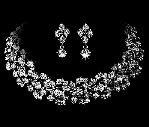 Bridal Jewelry, Rhinestone Floral Choker &#038; Earring Set 557